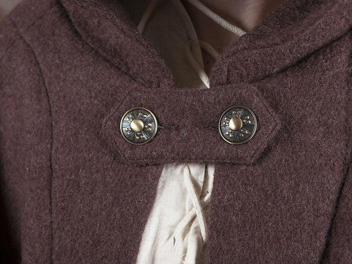Manteau en laine à capuche en marron 2