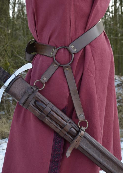 Ceinture porte épée en cuir marron 2