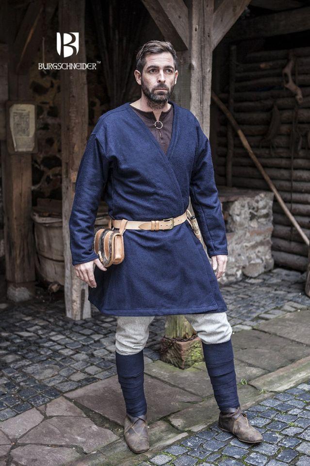 Veste viking croisée en laine, couleur bleue 2