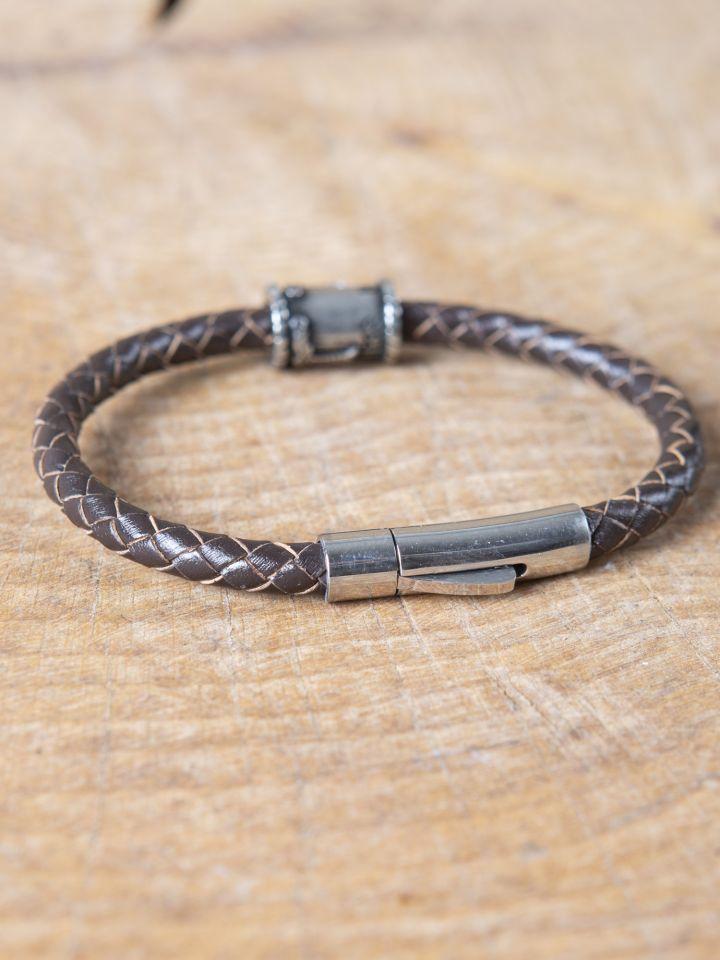 Bracelet en cuir marron avec perle Viking 2