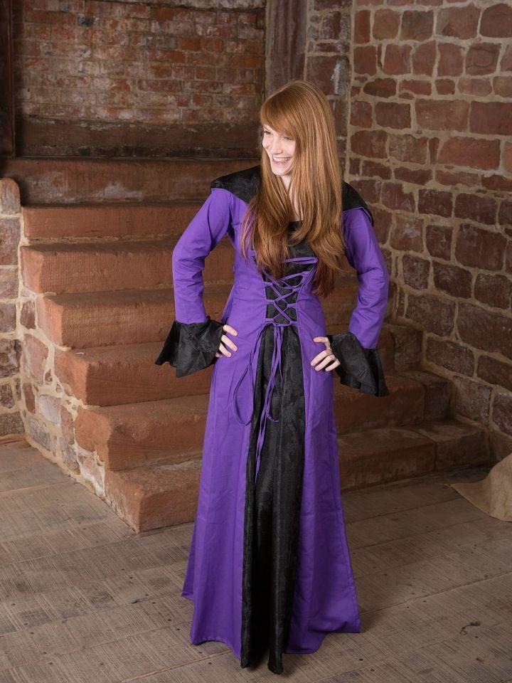 Robe médiévale Clara en noir et lilas 38 2