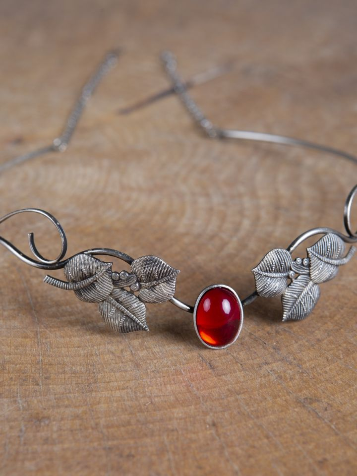Tiare avec feuilles et pierre rouge 2