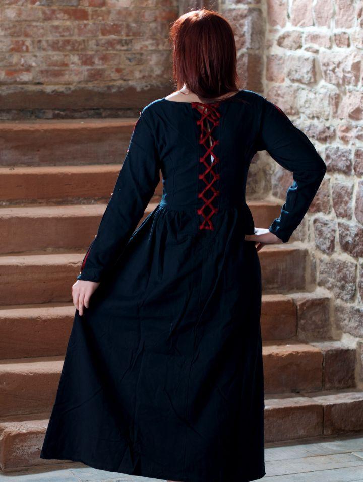 Robe médiévale en coton noire et rouge 2
