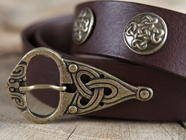 Ceinture cuir marron à motifs celtiques 2