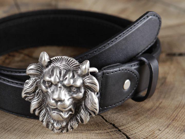 Ceinture en cuir tête de lion 2