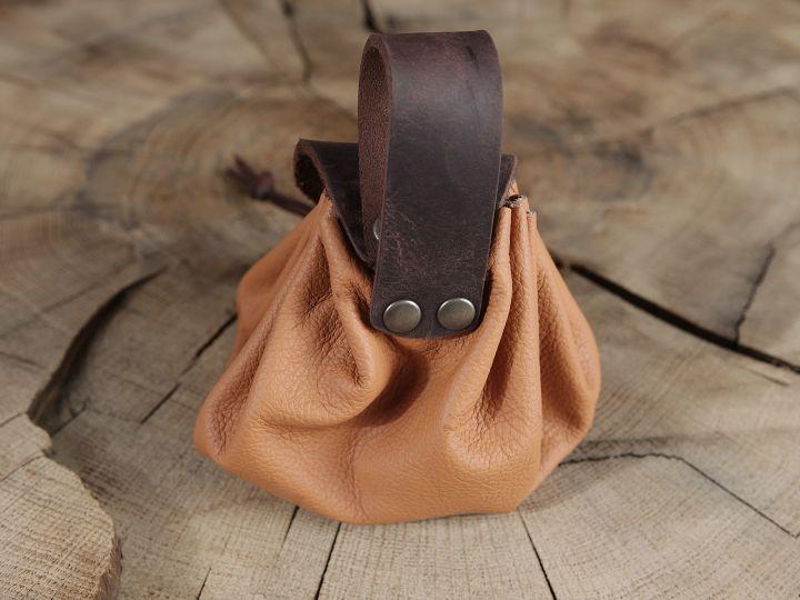 Bourse de ceinture en cuir marron clair 2