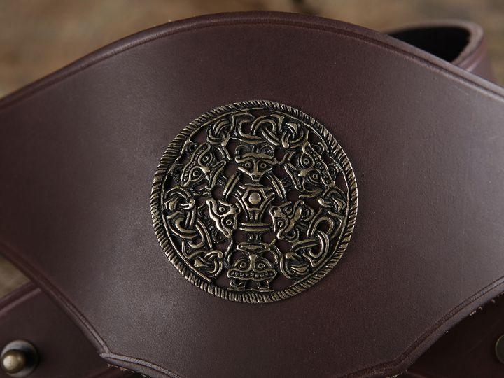 Ceinture corsetée en cuir à médaillon celtique 2