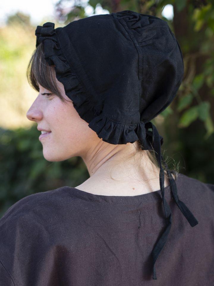 Coiffe médiévale de paysanne en noir 2