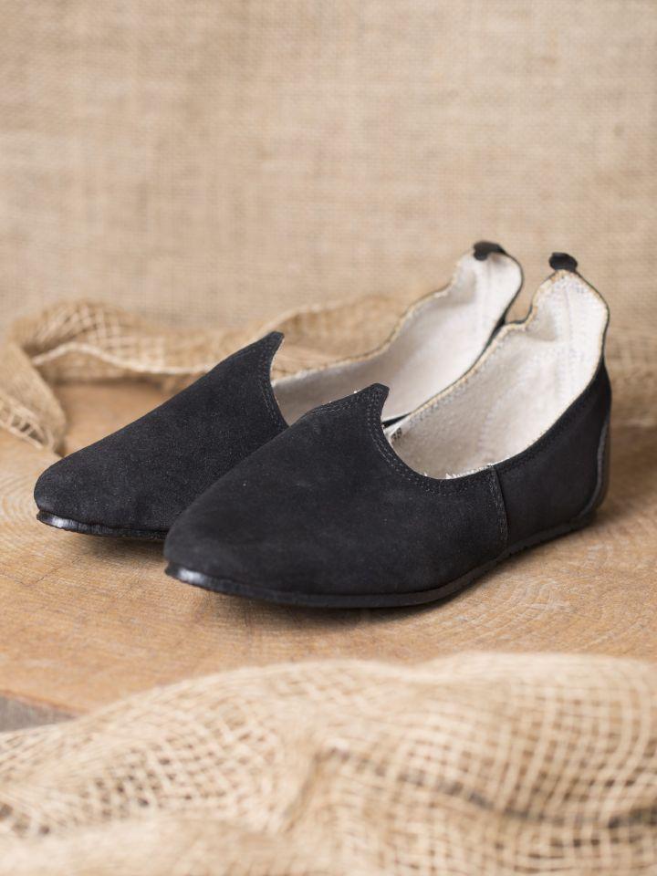 Chaussures médiévales, semelle en caoutchouc, noires 2