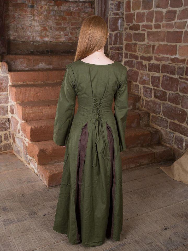 Robe Médiévale Alina en vert olive et marron S/M 2