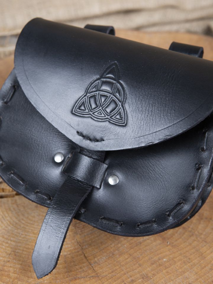Sacoche de ceinture en cuir triskele en noir 2