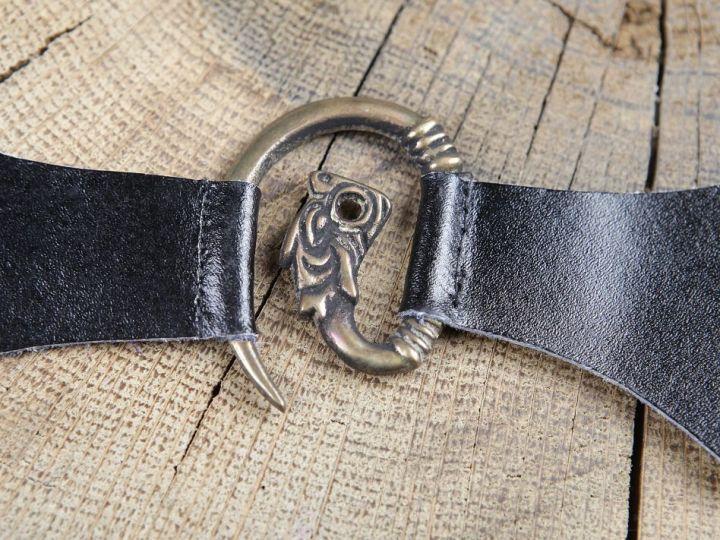 Boucle médiévale en métal à tête de dragon marron 2