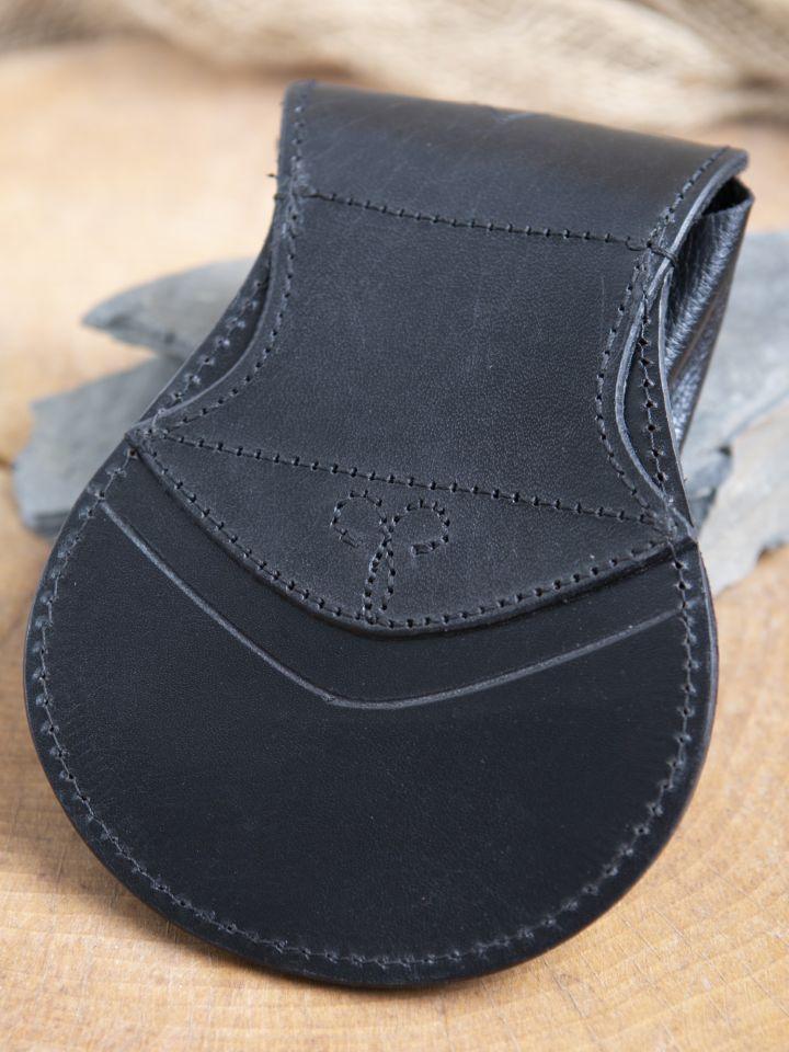 Bourse elfique en cuir épais en noir 2
