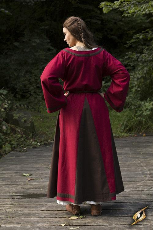 Robe médiévale Astride bicolore en marron et rouge 2