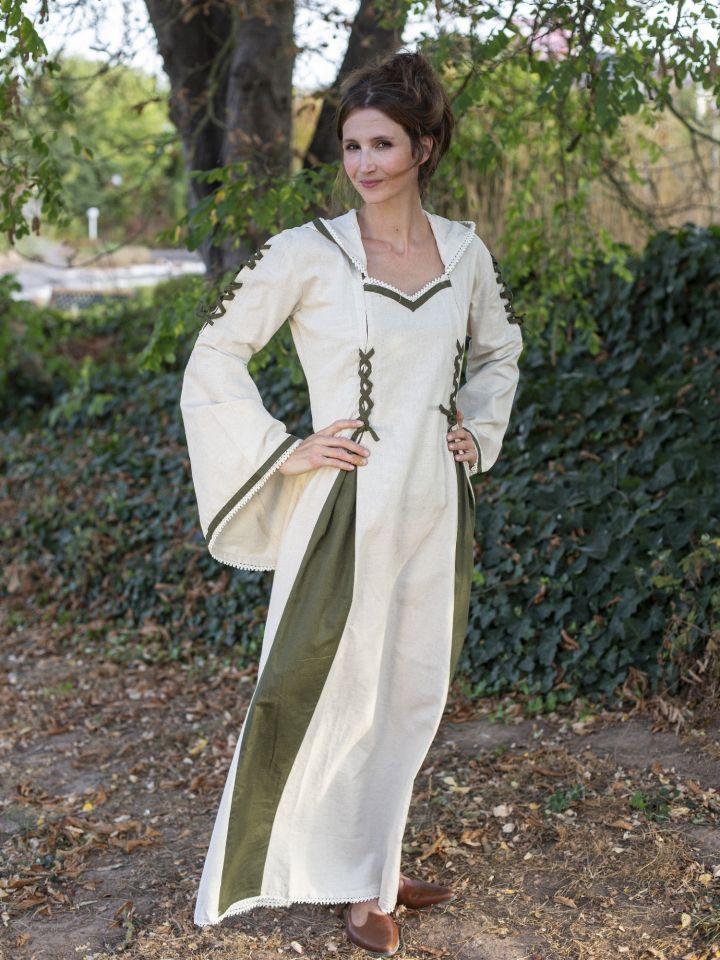 Robe médiévale bicolore à capuche en écru et vert olive 2