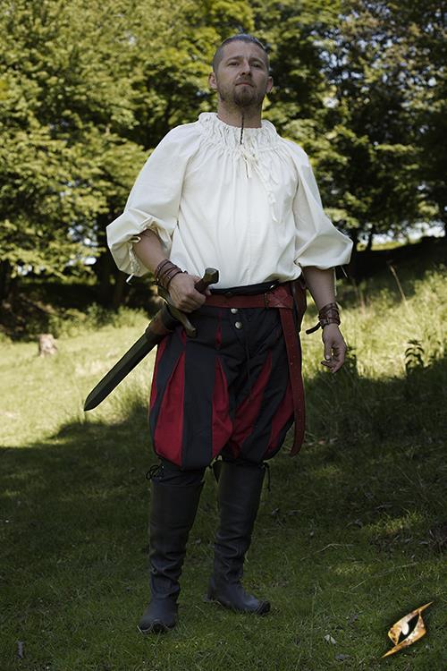 Chemise médiévale froncée au col en blanc écru 2