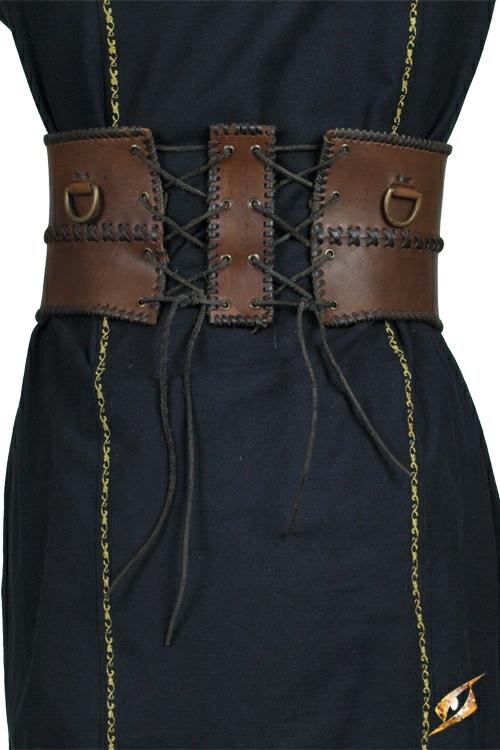 Ceinture corset en cuir, en marron 2