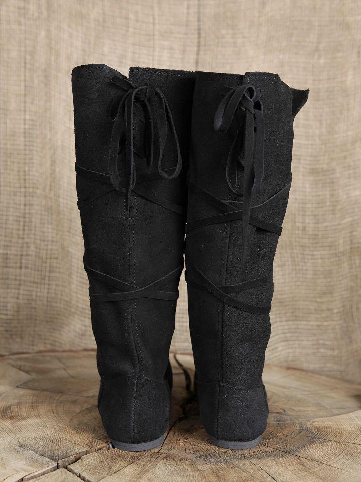 Bottes médiévales en cuir chamoisé à lacets, en noir 2