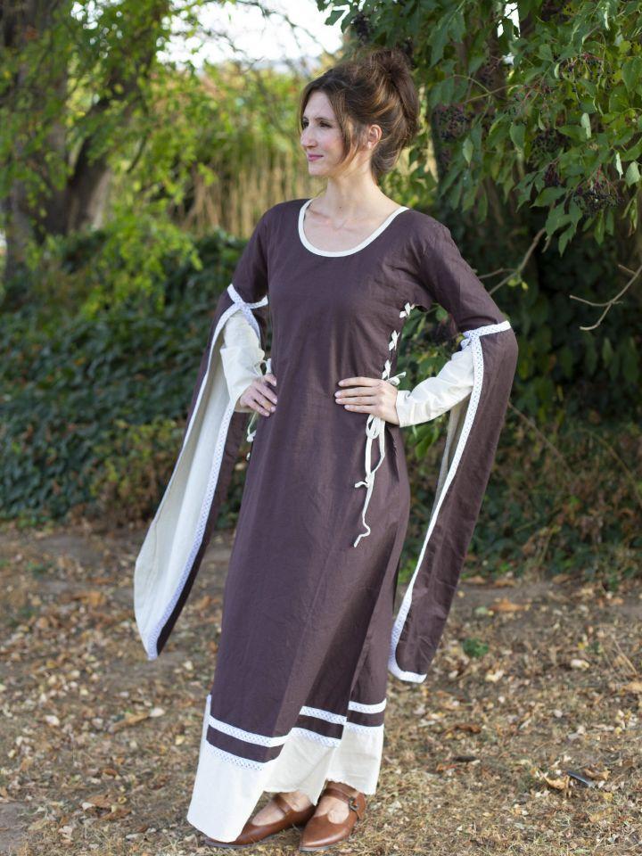 Robe médiévale manches flottantes, marron/écru 2