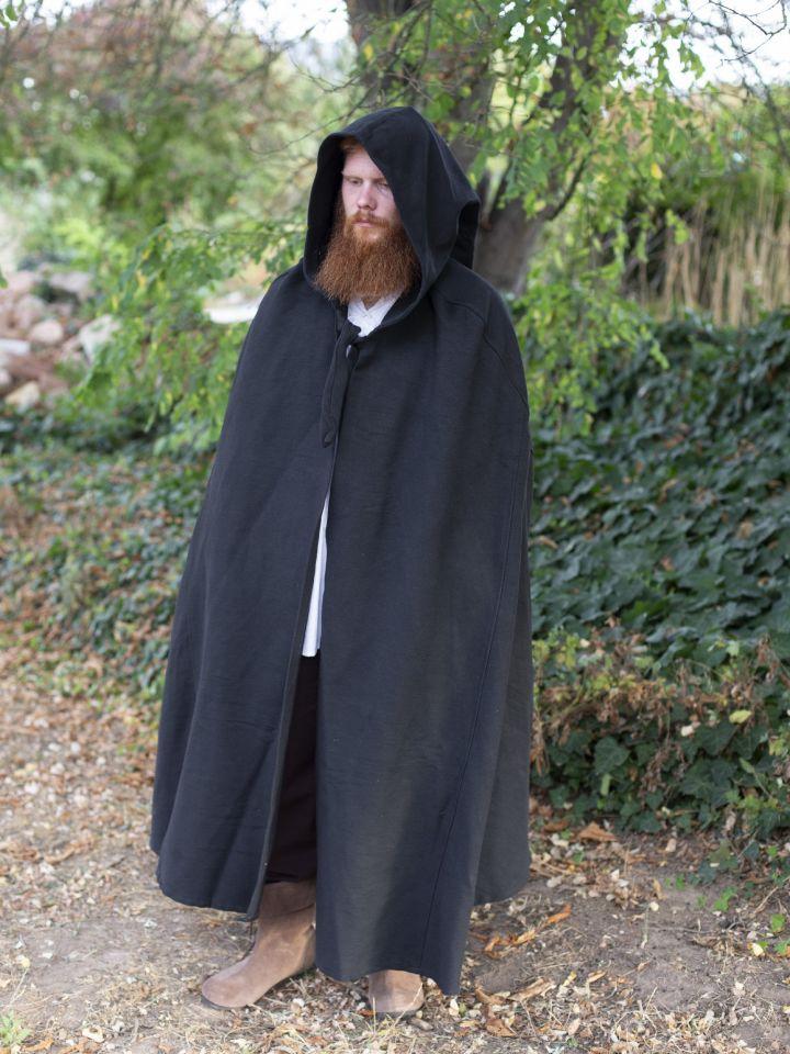 Cape en coton rustique en noir à longue capuche 2