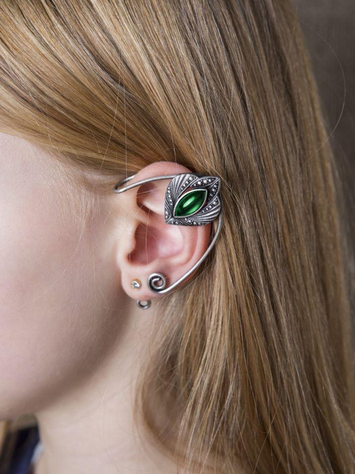 Clips d'oreille avec pierre verte Oreille droite 2