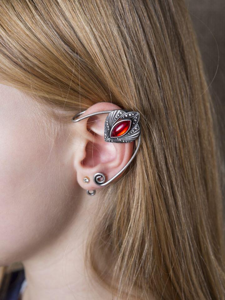 Clips d'oreille avec pierre rouge 2