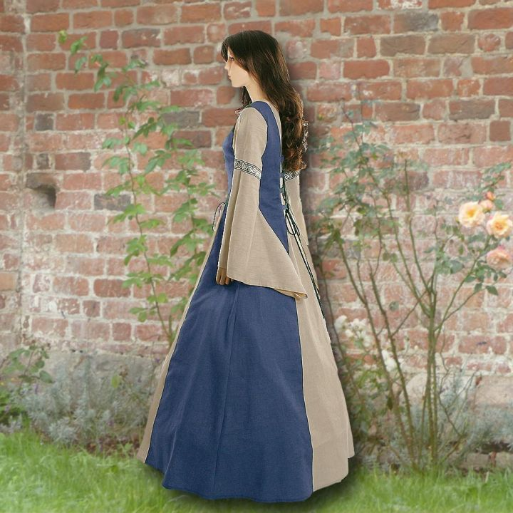 Robe médiévale Elisabeth en bleu clair et sable 2