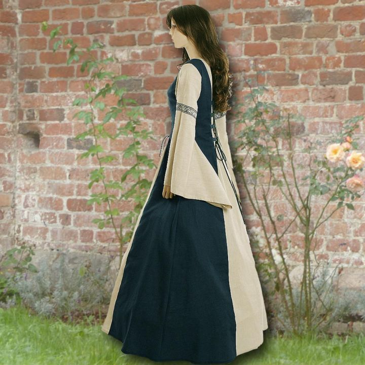 Robe médiévale Elisabeth en bleu marine et sable 2