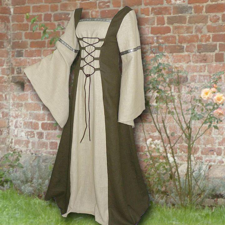 Robe médiévale Elisabeth en vert olive et sable 2