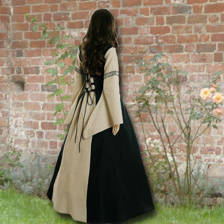 Robe médiévale Elisabeth en noir et sable 2