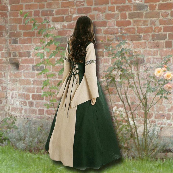 Robe médiévale Elisabeth en vert et sable 2