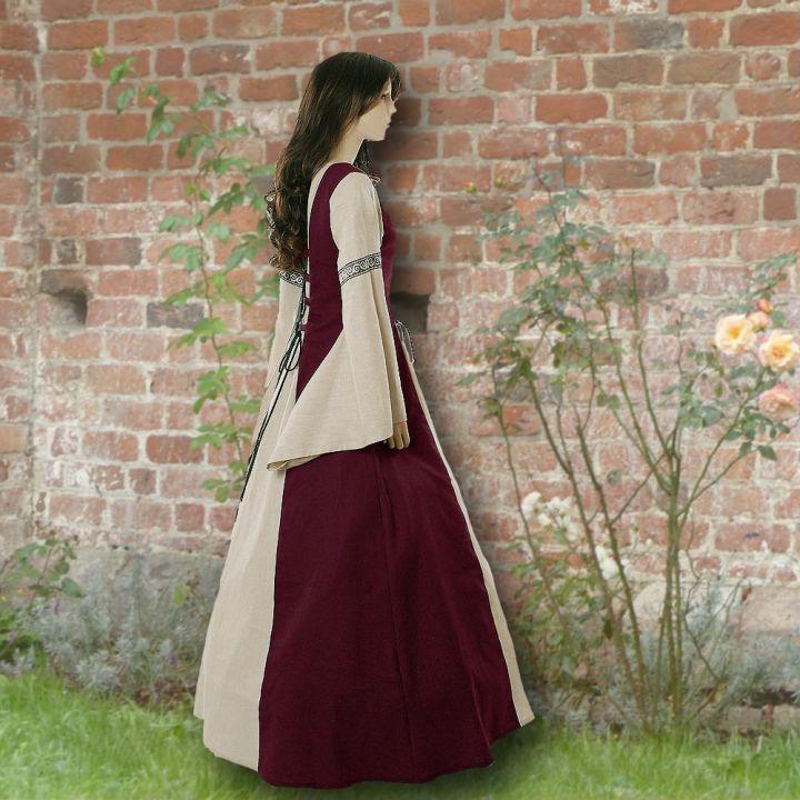 Robe médiévale Elisabeth en bordeaux et sable 2