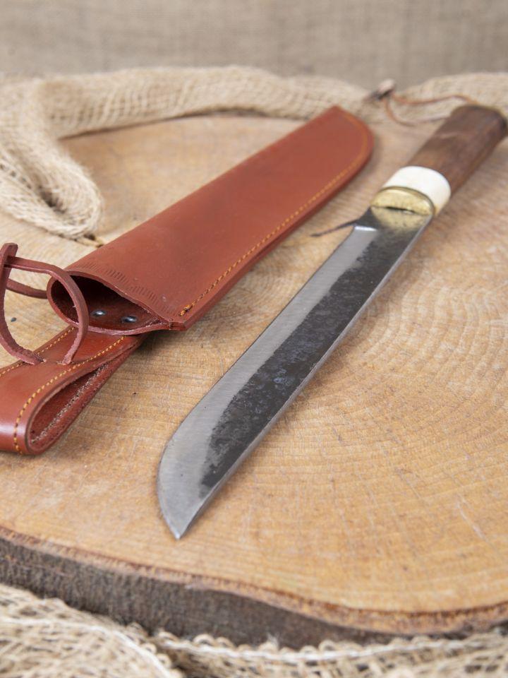 Couteau médiéval avec manche en bois fourreau en cuir inclus 2