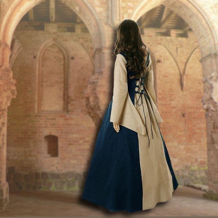 Robe médiévale Fabienne en bleu foncé et sable 2