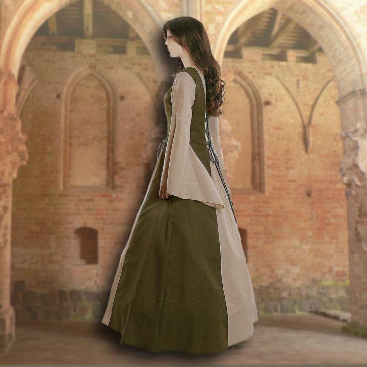 Robe médiévale Fabienne en vert olive et sable 2