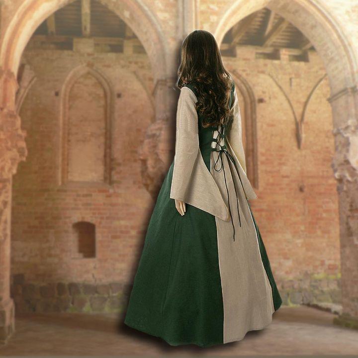 Robe médiévale Fabienne en vert et sable 2