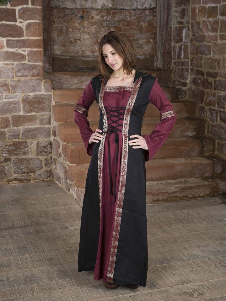 Robe bordeaux et noire, avec capuche et broderies L/XL 2
