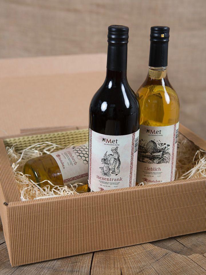 Coffret cadeau comprenant 3 bouteilles d'hydromel 2
