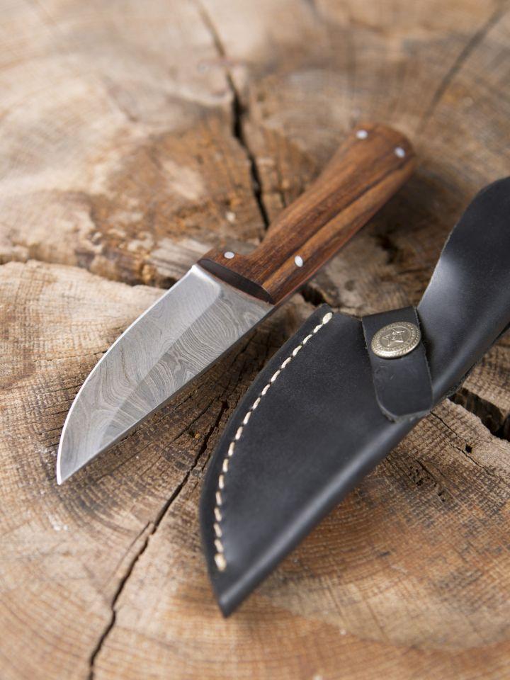 Couteau à lame Damas avec manche en bois de rose 2