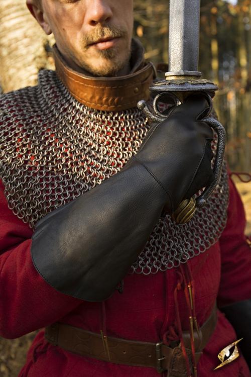 Gant de fauconnier en cuir noir - imitation 2