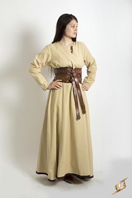 Robe avec surpiqures en beige 2