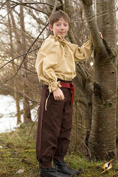 Pantalon en coton pour enfant, marron 2