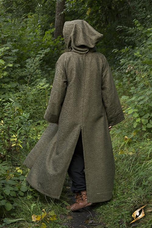Grand manteau à capuche vert 2