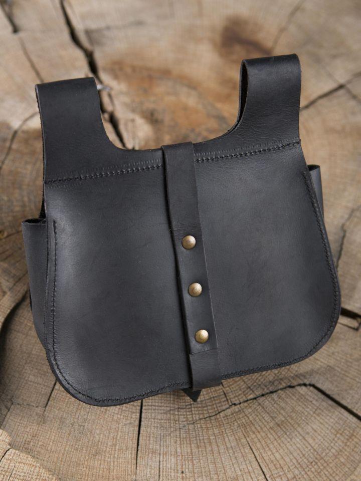 Sacoche médiévale en cuir noir 2