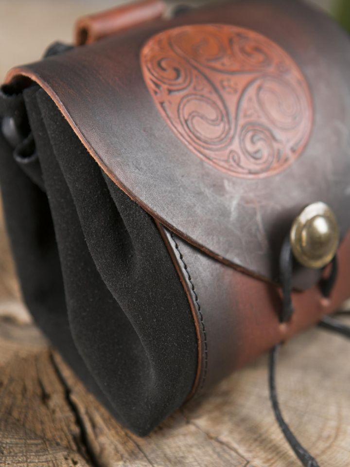 """Petit sac de ceinture en cuir, motif """"triskele 2"""