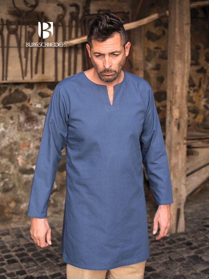 Tunique en coton peigné, en bleu 2