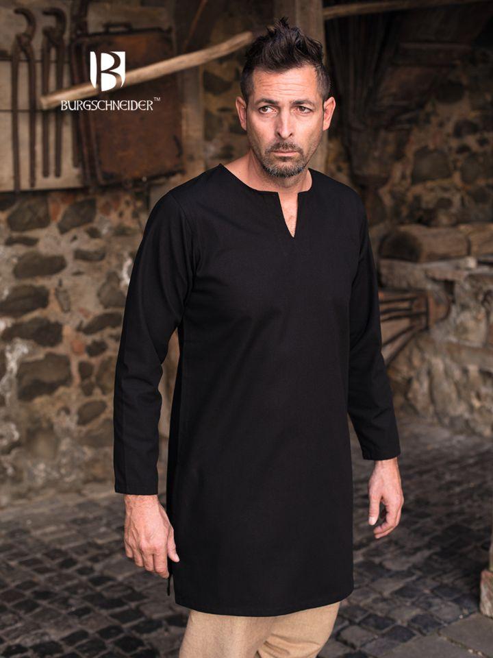Tunique en coton non peigné en noir S 2