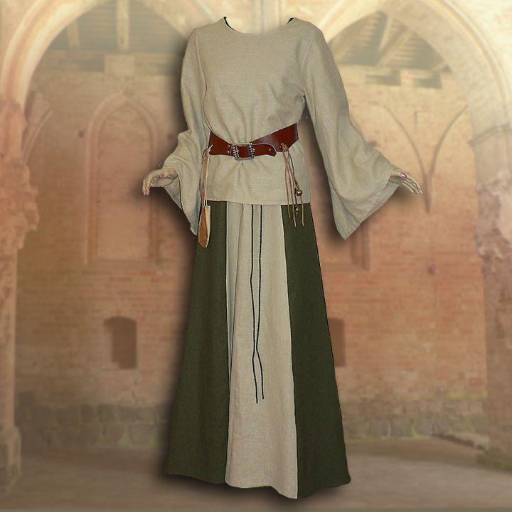 Ensemble médiéval Isabella en vert olive 2