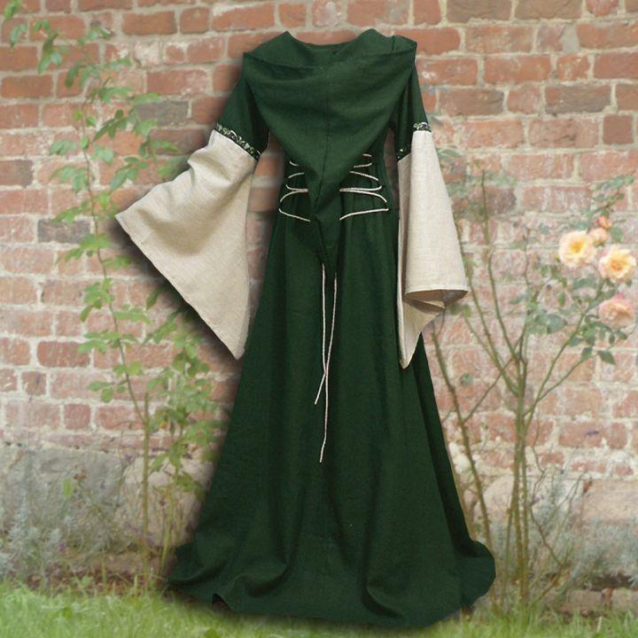 Robe médiévale Johanna à capuche en vert 2