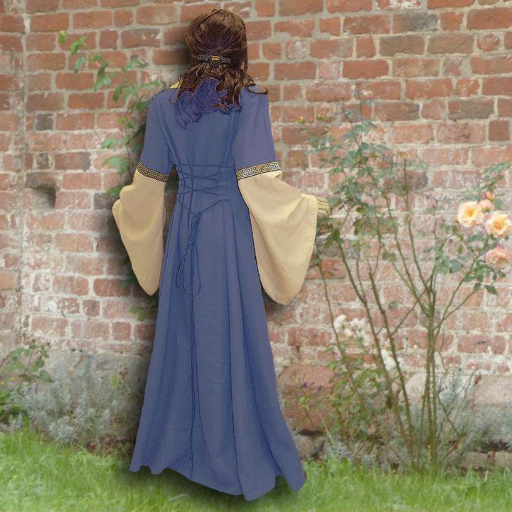 Robe médiévale Johanna à capuche en bleu clair 2